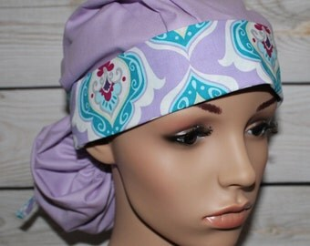 Orchid with Co-Ordinate Band, Surgical Scrub Hat,Scrub Cap,Nurses Surgical Scrub Hat,Front Fold Ponytail