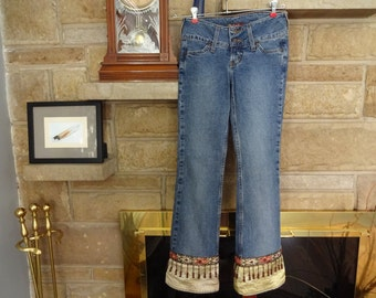 Women's Gypsy Silk Sari Beaded Jeans size 0