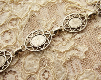 Vintage Antiqued Silver Filigree Linked Bracelet with 10x8mm Setting Pads Charm Blank