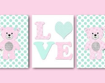 Pink Aqua Canvas Wall Art Bear Nursery Prints Baby Girl Nursery Decor Kids Wall Art Kids Art Baby Room Decor Baby Nursery Decor set of 3