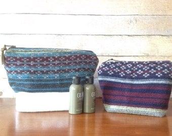 Men's Shaving Bag - Wool- Dopp Bag - Travel Bag - Eco Travel Bag - Shave Kit - Canvas
