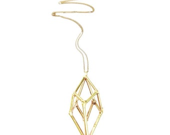 Brass Geometric Prism Necklace