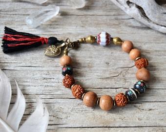 Sandalwood yoga bracelet, boho bracelet, yoga jewelry, bohemian jewelry, boho tassel bracelet