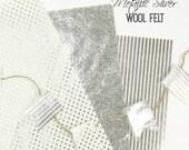 Metallic Silver Printed Felt // Metallic Silver Felt // Metallic Silver Wool Felt // Metallic Felt // Silver Foil Print Fabric