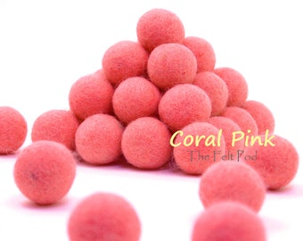 Wool Felt Balls // Felt Ball Garland DIY // diy Mobile // diy Necklace // Poms // Beads // CORAL PINK // 1 cm 1.5 cm 2 cm 2.5 cm 3 cm 4 cm