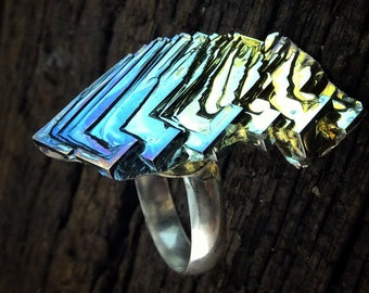 "Bismuth Ring, ""Finger Feather"", on an Adjustable Sterling Silver Ring. Iridescent crystal from a Bismuth Geode."