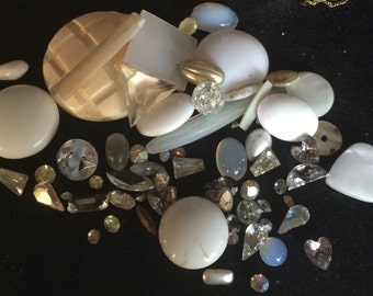 Shades of White Vintage Rhinestones and Jewelry Pieces