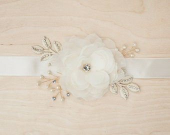 Floral and crystal accented bridal sash, floral bridal belt, ivory bridal sash, wedding sash, crystal belt, ivory and gold bridal belt