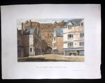 Lysons Magna Britannia Devon 1822 HC Print. View of the Southgate at Exeter