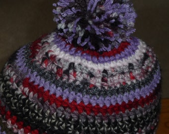 Simple multi colored crochet beanie hat POM POM lavender tone red