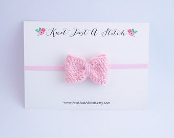 Classic Baby Pink Crochet Bow Headband, Newborn, Baby, Toddler Headband, Little Girl Accessories