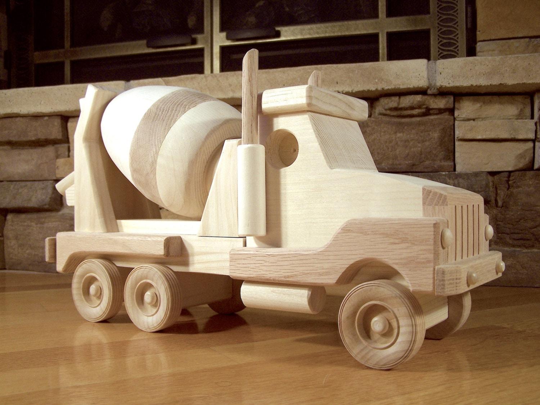 Handmade Wooden Cement Truck Toy