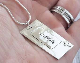 Cross Initial Pendant / Sterling Silver Hammered Hand Stamped /Personalized Necklace