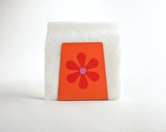 Groovy flower power napkin holder – Mod flower letter holder – mail holder mail organizer – orange red hot pink metal mail sorter