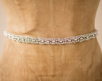 Wedding Belt Bridal Sash, Thin Crystal Cluster Delicate Lace Trim Romantic Art Deco Jeweled Silver Bling Adornment, Camilla Christine CARRIE