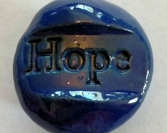 HOPE Magnet - Ceramic - ROYAL BLUE Art Glaze - Inspirational Art Piece