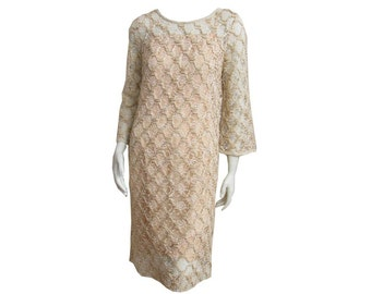 Vintage 1960s Shift Dress Embroidered Lace with Slip
