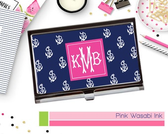 Nautical Business Card Holder  Monogrammed Anchors Business Card Case Personalized Card Holder Custom Card Case
