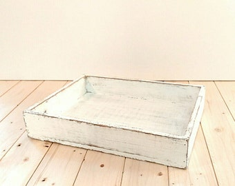 Shabby chic wood tray, decorative rustic tray, coffee tray, jewelry tray, wedding tray, organizer, serving tray, rustic white, home decor