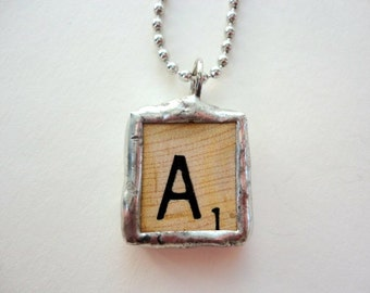 """Vintage Scrabble Letter """"A"""" Necklace Soldered Upcycled Game piece Initial Necklace by metrocottage"""
