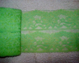 Vintage Lace Double Wide Lingerie /Scalloped/ Light Green/ Mint Green