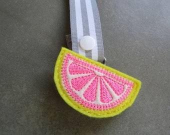 Pacifier Leash Paci Clip - Citrus Slice Feltie Metal Pacifier Clip