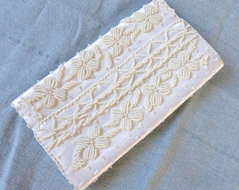 Vintage 1950's Ivory Floral Beaded Satin Envelope Clutch with Faux Pearls