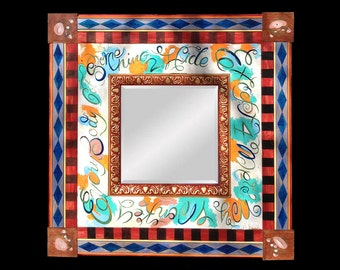 Hand Painted Mirror with Monkeys, Boys Room Mirror, Decorative Mirror