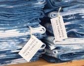 SECONDS 4 PACK : Indigo Dye Tea Towel Boho Bohemian  Hand Dip Dyed, 100% Cotton Tea Towel, Kitchen Towel, Dish Cloth, Hostess Gift, Shibori