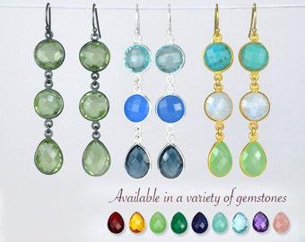 Moonstone stud Earrings, bezel set earrings, long earrings, Rainbow Moonstone jewelry, June Birthstone earrings, bridal jewelry, triple drop