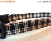 "Sale 50% Off Plaid Dog Collar - Black, White & Grey Plaid ""Nathan""- NO EXTRA CHARGE for colored buckles"