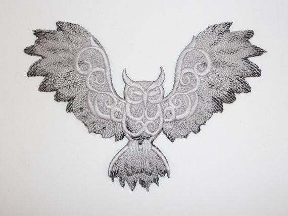 embroidered owl with wings spread 2 colour motif / patch /