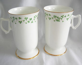 Pair Royal Tara Fine Bone China Tea Coffee Cups   Made in Galway Ireland   Vintage Circa 1950s
