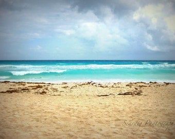 Cancun Beach Photography. Mexico. Ocean Photography, Dreamy Photography.  Landscape. Turquoise Blue Sandy Beach, Birds, Wanderlust Wall Art.