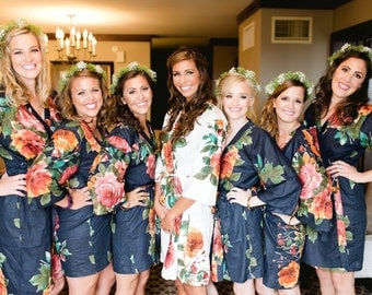 Set of 7 Floral Kimono Crossover patterned Robe Wrap - Bridesmaids gift, Robe, Bridesmaid Robes, Bridal shower favors, baby shower