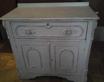 shabBby chic white carved vintage chest