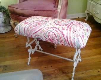 vintage iron bench with cotton candy colors!