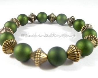 Green Bracelet w Metallic Bronze Accents, Acrylic Bracelet, Elegant Bracelet, Stackable Bracelets, Bohemian Fashion Bracelet, Womens Jewelry