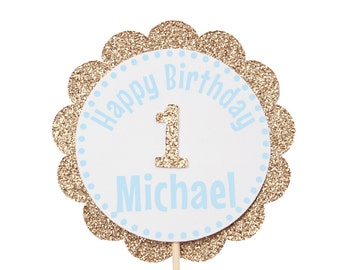 Blue and Gold First Birthday Cupcake Toppers - Personalized Cupcake Toppers - Happy Birthday