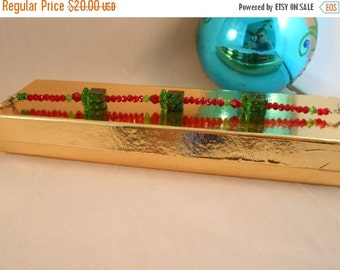 ON SALE Red and green crystal beaded bracelet,present bracelet,red and green beaded bracelet