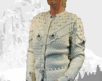 """Ladies cardigan with Austrian Inspiration """"Maligne Lake"""" cream with grey embroidery - the perfect companion for denim"""