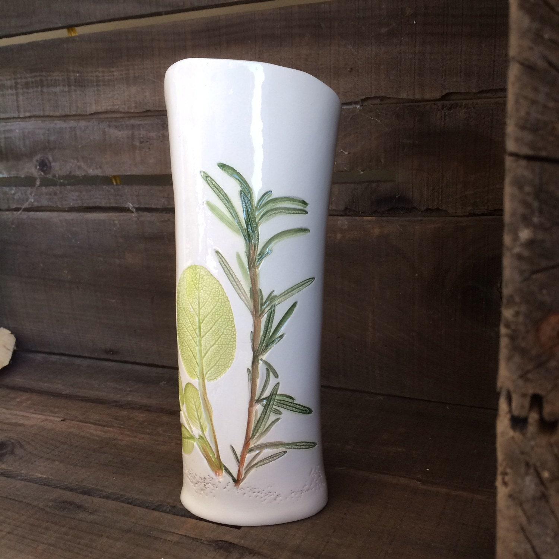 Herb Garden Vase White Handmade Sage Pottery by