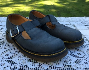 Doc Martens Mary Janes T-Strap 1 Buckle Blue Suede Leather Shoes England Womens Size 5 UK  Size 7 US   Eur 38 Air Cushion Sole  Chunky  90s
