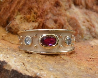 DEADsy LAST GASP SALE Vintage Antique Wedding Band // Ruby and Diamond 14K Gold Ring // Unique Designer Ring in 14K Yellow Gold // Sepkus St