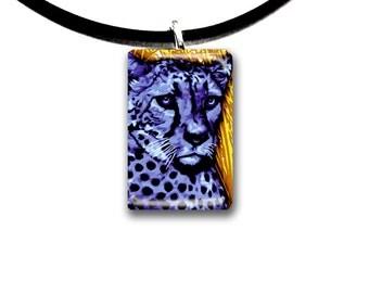 purple cat, Cheetah, hand painted, handmade, glass tile pendant, kid friendly art, purple