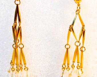 Long Crystal & Gold Dangle Earrings    18 Inchs Long  Gold Plated   Crystal rhinestones   Pierced Ears