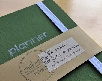 Grass Green Cloth 12 Month DIY Day Planner