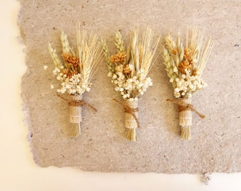 Rustic Boutonniere, Dried Flower Boutonniere, Fall Lapel Pin, Wheat Boutonniere, October Wedding, Fall Boutonniere, Boutineer, PRAIRIE