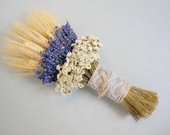 Lavender Bouquet, Dried Flower Bouquet, Rustic Wedding Bouquet, Summer Wedding, Wedding Bouquet, Lavender and Wheat Bouquet, Boho Wedding