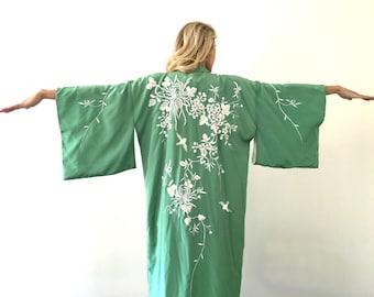 Vintage Kimono Spearmint Green w/ Flowers